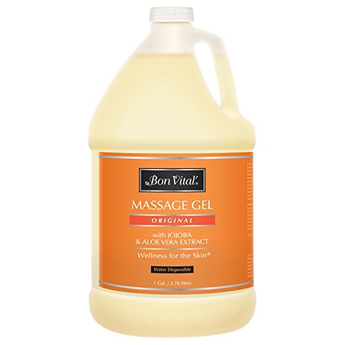 Bon Vital' Original Massage Gel for a Versatile Massage Foundation to Relax Sore Muscles and Repair Dry Skin, For Massage Therapists Who Want Superior Glide & Gentle Friction for Clients, 1 Gal Bottle