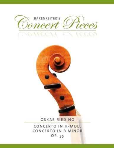 Oskar rieding: Concierto H (en la menor Op.35para violín y piano, Nuevo Diseño del oso Jinete Verlag Partituras Kurt Sass Muñeco Casa ED.