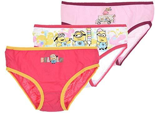 5 Mädchen Unterhose les minions Unterwäsche baumwolle, Rosa-weiss-pink, für 6- bis 8-Jährige
