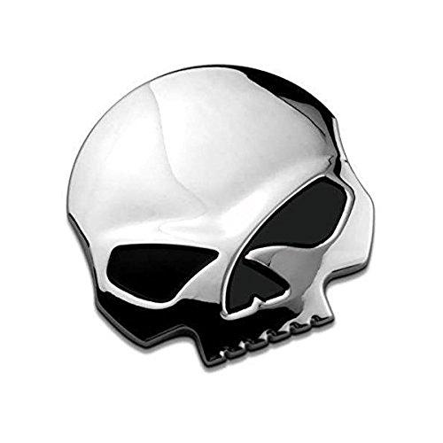 3D Metallschädel Autoaufkleber-Auto & Motorrad-Aufkleber Schädel Emblem Aufkleber Auto Styling Zubehör Abziehbilder (Silber-)