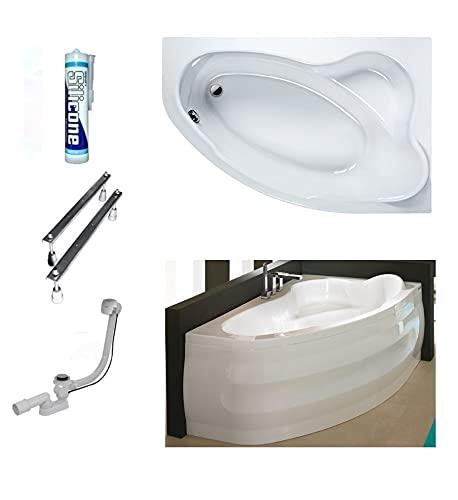 ECOLAM Badewanne Eckwanne Comfort 160x100 cm RECHTS Acryl weiß Schürze Ablaufgarnitur Ab- und Überlauf Automatik Füße Silikon