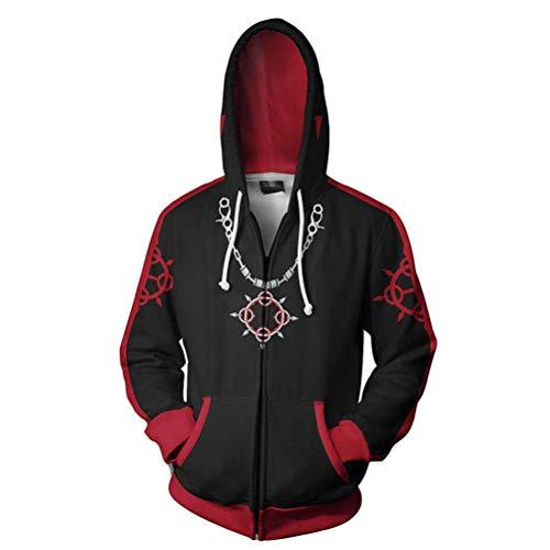 Qian Qian Unisex Sora Hoodie Sweater Kapuzenpullover Halloween Cosplay Kostüm Zip Hoodie Jacke (S, Schwarz 4)