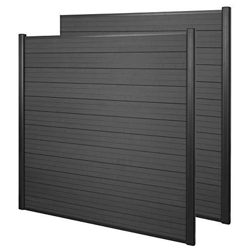 Mendler WPC-Sichtschutz Sarthe, Windschutz Zaun, Alu-Pfosten ~ 2er Set, 3,75m anthrazit