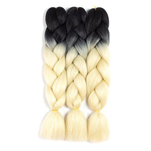 SONNET Ombre Kanekalon Braiding Hair Blonde Braiding Hair Synthetic Jumbo Braid Hair 3bundles/lot 300g Kanekalon Braiding Hair Extension for Crochet Box Twist Braiding with 10pcs Free Decoration Dreadlock Deads (Black/Blonde)