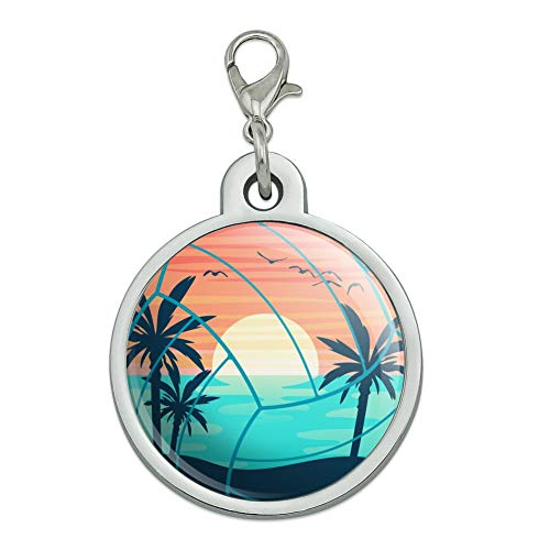 GRAPHICS & MORE Volleyball Beach Scene Chrome Plated Metal Pet Dog Cat ID Tag