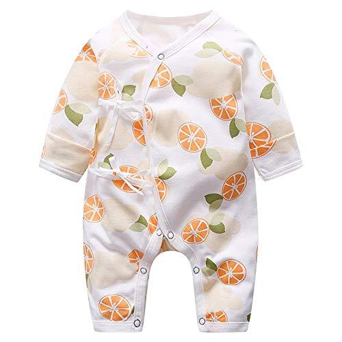 YOUTHINK Baby Jumpsuit Säugling Kleinkind Atmungsaktiv Einteiler Volloffener Strampler Langarm Fruchtdruck Bowknot Schnür Bodysuit Unisex Jumpsuit(66-Mango)