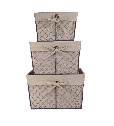 DII Vintage Chicken Wire Baskets for Storage Removable Fabric Liner, Assorted Set of 3, Natural 3 Piece