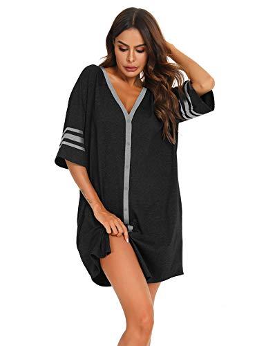 MiiKARE Damen Nachthemd mit halben Ärmeln und Knopfleiste Nachtwäsche mit V-Ausschnitt Boyfriend Schlafhemd,Stillen Pyjamakleid(Die Größe ist zu groß,es Wird empfohlen,eine kleinere Größe zu nehmen)