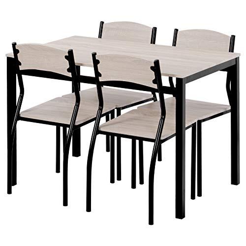 somubi Juego de comedor de cocina de 5 piezas, mesa de comedor y sillas para el hogar, cocina, comedor