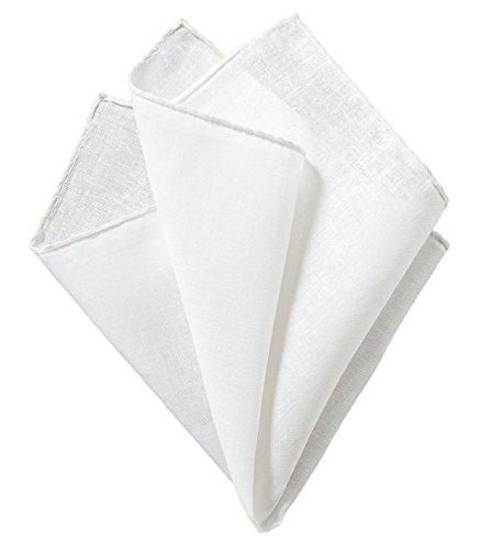 Blackbird weißes Einstecktuch mit weißen Rand, handgerolltes Taschentuch (100% Leinen)