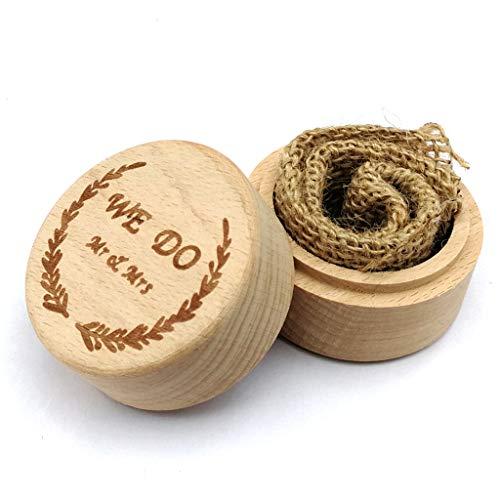 ruiruiNIE Personalisierte Gravur Rustikale Hochzeit Holz Ring Box Schmuck Schmuck Aufbewahrungsbehälter Halter Benutzerdefiniert Wir tun Mr & Mrs Ringe Träger