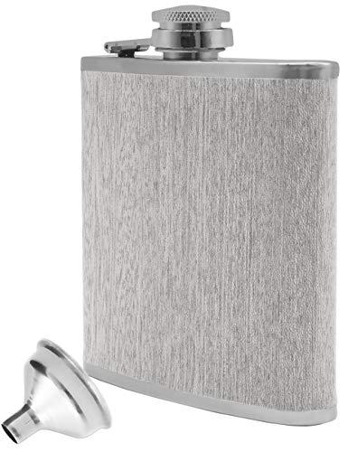 Outdoor Saxx® - Edelstahl Flachmann Wood im Holz-Design, hochwertige Taschen-Flasche, Schnaps-Flasche, Flagon, Schraub-Verschluss, Tolle Geschenk-Idee 175 ml, Holz-Design Nussbaum grau