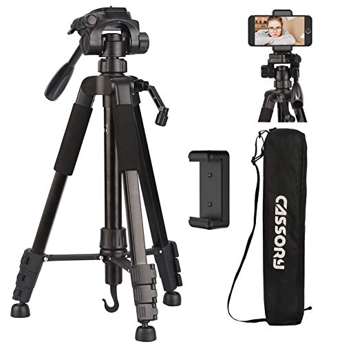 Camera Tripod 59 Inch, Tripod for Camera and Phone, Lightweight Aluminum Universal Video Camera Tripod Stand with Carry Bag, Quick Release Plate, Phone Holder, Video Tripod for Travel, Vlog 3kg/6.6lb