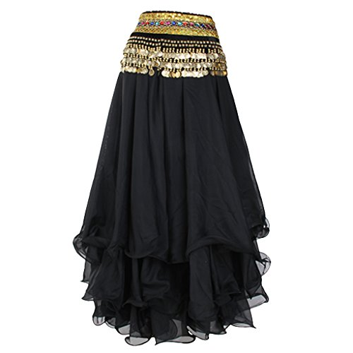 Belly Dance Skirt Chiffon Full Circle Dress Costume Clothes (Black)