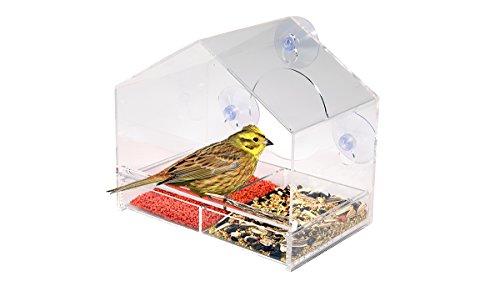 Natur Fenster Vogelfutterspender Eichhörnchen-sicher - Acryl mit Dach, Sicht-Wänden, Wasserablauflöchern und Strapazierfähigen Saugnäpfen und Trennwand für 2 Arten an Samen