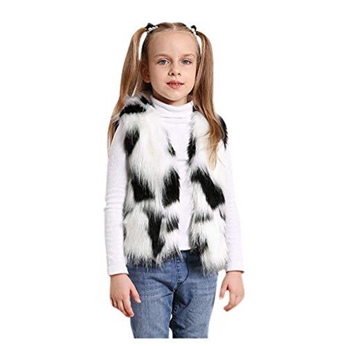 Shan-S Toddler Kids Baby Girl Children's Sleeveless Winter Warm Splice Colorblock Faux Fur Thick Coat Outwear Waistcoat Plush Vest Tank Top