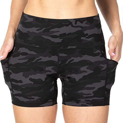 Sunzel Yoga Shorts for Women with Pockets, High Waist Biker Shorts, Buttery Soft Squat Proof Workout Athletic Running Shorts (Gray Camo, M)