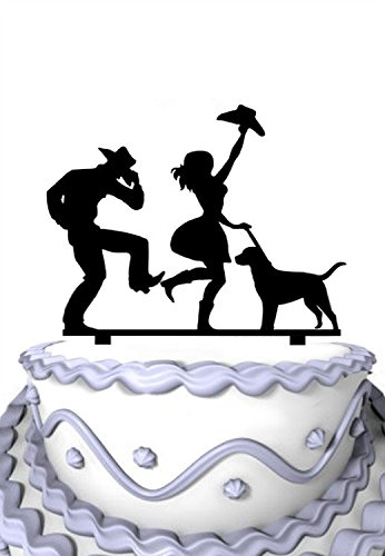 Meijiafei Dancing Cowgirl and Cowboy with Pet Dog Wedding Family Cake Topper