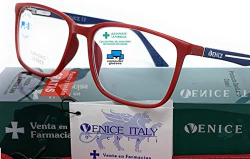 New Model Gafas de lectura con filtro bloqueo luz azul para gaming, ordenador, móvil. Anti fatiga STEEL professional unisex venice (Rojo, 1,50)