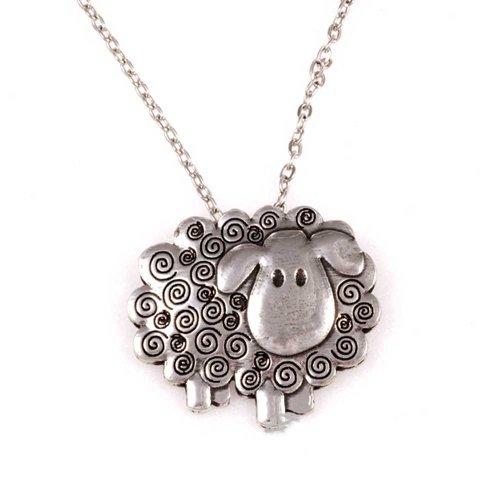 St Justin Pewter Swirly Sheep Pendant Necklace