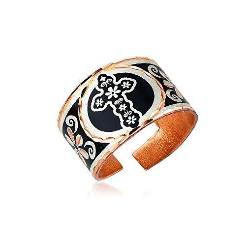 Anillos de flores para mujeres y niñas con fondos coloridos, joyería de flores, anillos de cobre hechos a mano ajustables plateado
