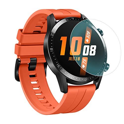 JShisxnuid beschermfolie voor Huawei Watch GT2 42mm Smartwatch, 9H hardheid, anti-olie, krassen en luchtbellenvrij, gehard glas screen protector voor Huawei Watch GT2 42mm