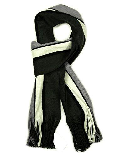 Écharpe de luxe pour homme Motif rayures à foulard en hiver Noir, Gris, bleu, blanc et bordeaux, Charcoal / White / Grey, Taille unique