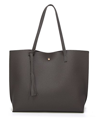 Women's Soft Faux Leather Tote Shoulder Bag from Dreubea, Big Capacity Tassel Handbag Dark Grey