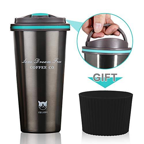 Mug de voyage isotherme avec couvercle pour th/é ou caf/é free size Green