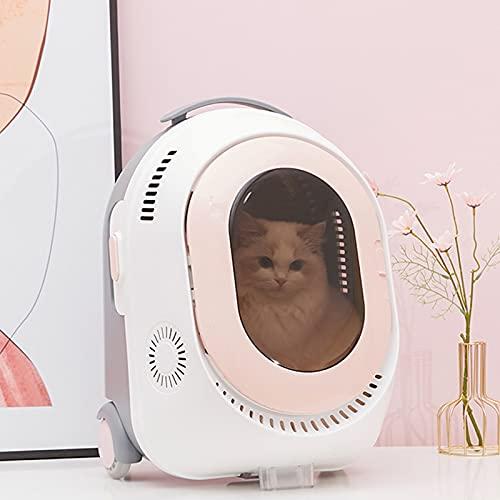 Maleta Trolley para Mascotas, Mochila Inteligente para Mascotas, CáPsula Espacial Transpirable Y ExtraíBle Adecuada para Viajar,Rosado