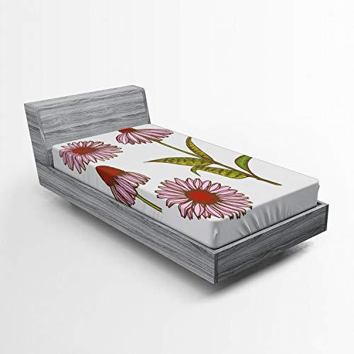 ABAKUHAUS Apotheker Spannbetttuch, Sonnenhut Kräuter, Soft Dekorativer Stoff Bettwäsche Rund-um Elastischer Gummizug, 90 x 200 cm, Mehrfarbig