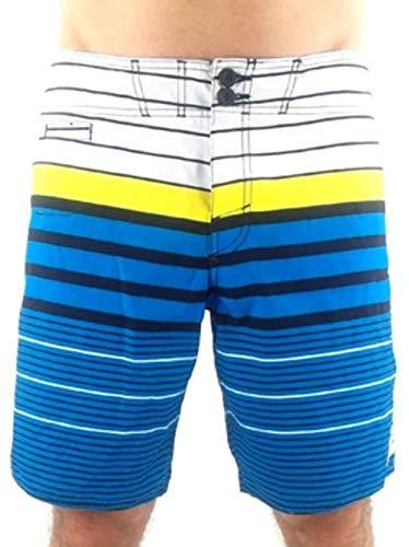 O'Neill Boardshort Maillot de Bain Rayures Retro Blanc Blau Boutons Laçage - 1950, 32