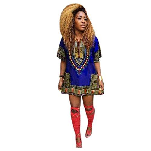 Culater® Mujeres Africana Vestido de la impresión Recta Ocasional de la Rodilla por Encima de los Mini Vestidos (S, Azul)