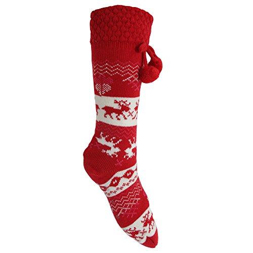 Universal Textiles Damen Winter Thermo-Strümpfe mit weihnachtlichem Norweger-Muster, Anti-Rutsch-Sohle (35-38 EU) (Rot/Weiß)
