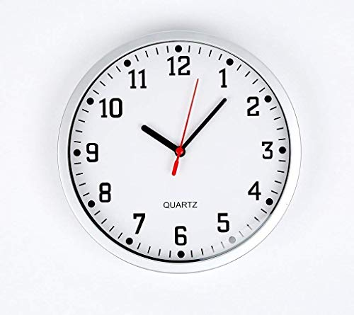 """REAL ACCESSORIES® Large Silver Round Stylish Modern Wall Clock. Easy Readable Big Numbers. Ideal for Any Room in Home Dining Room Kitchen Office School Size : 23cm / 9"""""""
