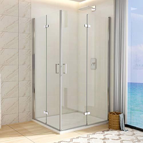 WELMAX Eckeinstieg Duschkabine Rahmenlos Falttür 80 x 100 x 195cm Doppelt Duschtür Duschabtrennung 6mm ESG Klares Sicherheitsglas Mit Beidseitiger NANO-Beschichtung