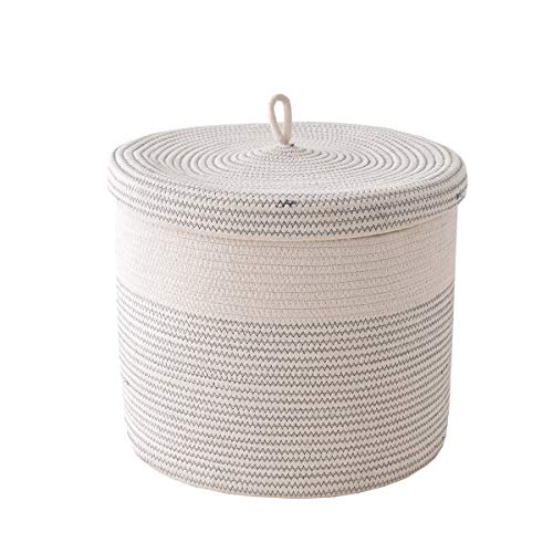 tegance Woven Cotton Rope Basket with Handles 16