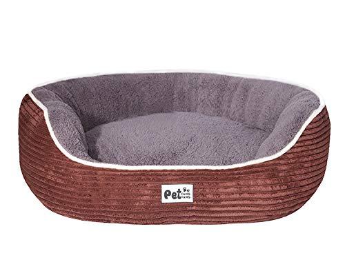 LOISLEILA Cama suave para mascotas pequeña perrera, sofá para gatos, nido térmico para dormir, invierno, cálido, lavable, con colchón extraíble para otoño e invierno, S (marrón)