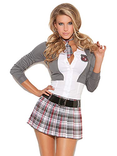 Elegant Moments Sexy Schoolgirl Costume, Grey/White/Plaid, 1x/2x
