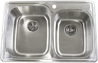 33 Inch Top-mount / Drop-in Stainless Steel 60/40 Double Bowl Kitchen Sink - 18 Gauge
