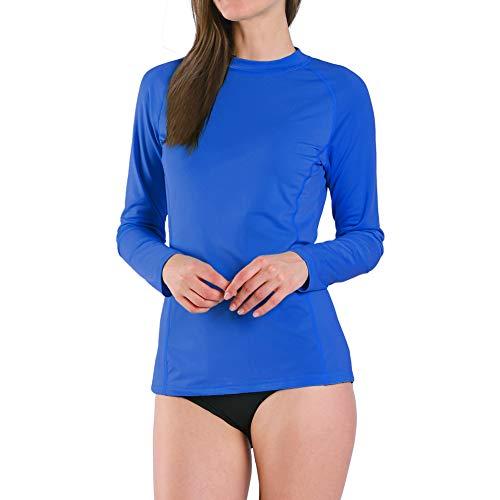 Ogeenier Damen Langarm Rash Guard UPF 50+ Schwimmshirt UV-Schutz Shirt