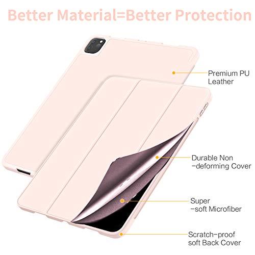 EasyAcc Hülle + Panzerglas Kompatibel mit iPad Pro 11 2020 mit Stifthalter, Ultra Dünn Smart Cover Schutzhülle, Auto Schlaf/Aufwach Funktion PU Leder Hülle,Roségold
