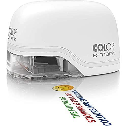 COLOP e-mark witte mobiele printer voor professionals tot 5.000 meerkleurige afdrukken incl. gratis app datum-, tijd- en nummergenerator