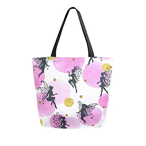 COZYhome - Bolso de lona grande, diseño de hadas, diseño de geometría de círculos, reutilizables, bolsa de compras, bolsa de hombro para mujeres, trabajo, escuela, etc