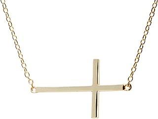apop nyc Goldtone 925 Silver Sideways Cross Necklace 16 inch - 17 inch [Jewelry] (Goldtone-Silver)