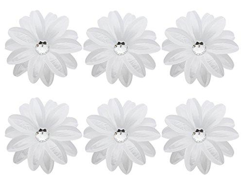 BONAMART 6 Stück Frauen Baby Mädchen Kinder Blumen Haarspangen Set Schleife Haarschmuck Pfingstrose Weiß