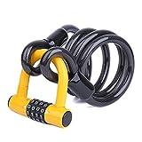 BIGLUFU Candado en U,U Lock Candado Bicicleta Acero Trenzado, Cierre de 12 mm de Grosor,antirrobo de Alta Seguridad,Soporte de Montaje Resistente y Recubierto de Vinilo Flexible (2.1m/7ft,Amarillo)