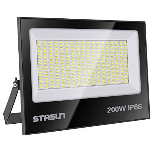 STASUN 200W LED Flutlicht Outdoor-Sicherheitsleuchte, 20000LM, 3000K Warmweiß, IP66 Wasserdicht LED Strahler, Ideale Außenbeleuchtung für Garten, Garage, Hof ect.