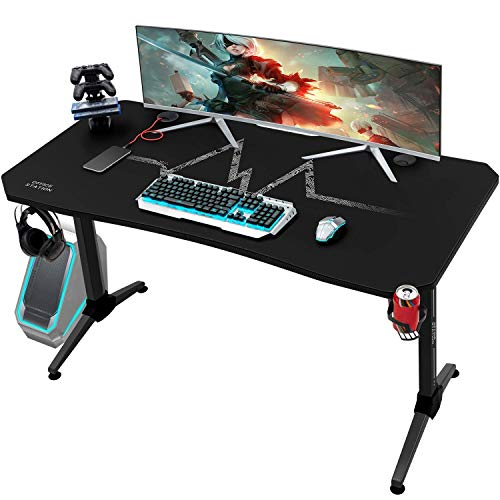 KaiMeng Gaming Desk 55 Inch PC Computer Game Desk with Mouse Pad Home Office Study Table Gamer Workstation Carbon Fiber Modern Surface Sturdy T-Shaped Y Leg, Black