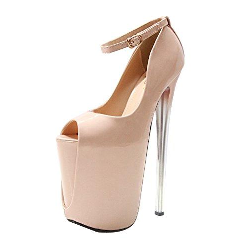Damen Peep Toe Plateau Stiletto Sandalen Sky High Heels Hochzeit Party Pumps Schuhe, - 183 22 cm Nude - Größe: 40.5 EU